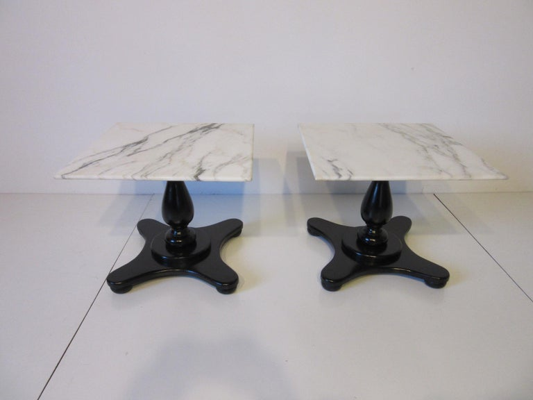 Italian Carrera Marble Topped Pedestal Side Tables For Sale 3