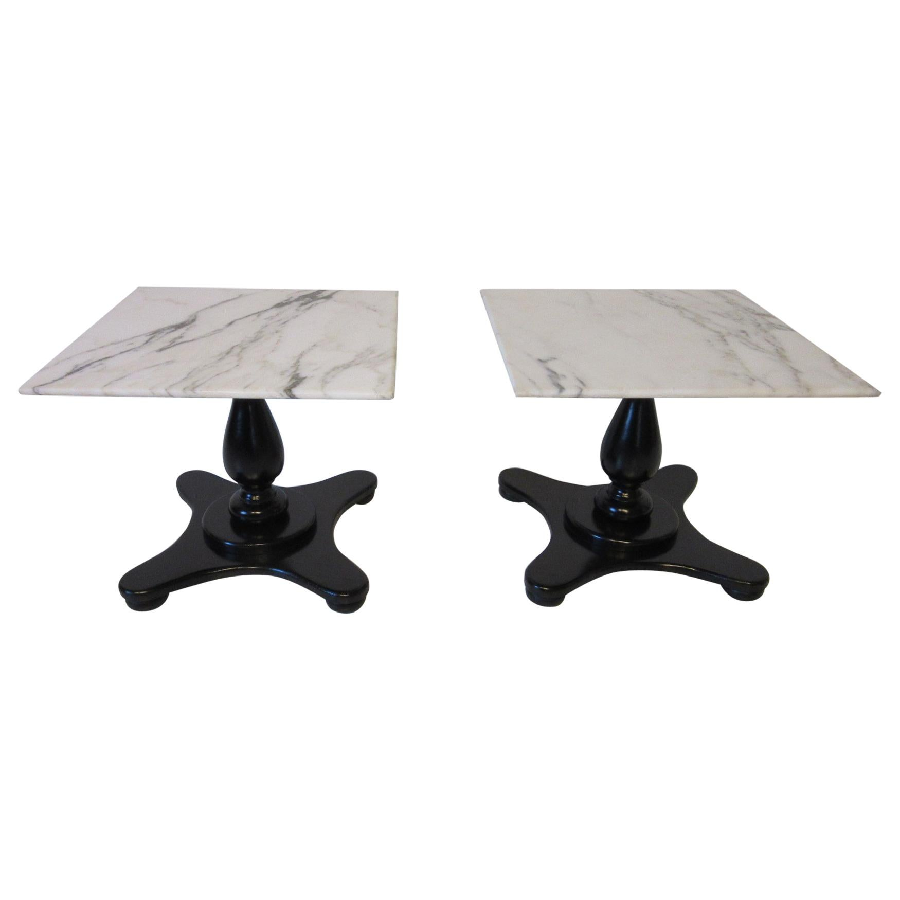 Italian Carrera Marble Topped Pedestal Side Tables