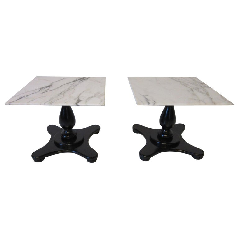 Italian Carrera Marble Topped Pedestal Side Tables For Sale