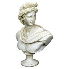 Italian Carved Alabaster Classical Roman Portrait Sculpture of Caesar, 20th C