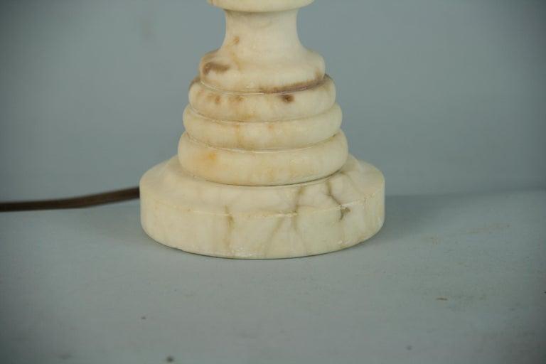 Italian Carved Alabaster Lamp For Sale 3