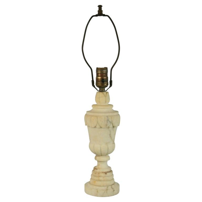 Italian Carved Alabaster Lamp For Sale