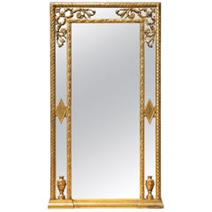 Italian Carved and Gilt Tall Console Mirror