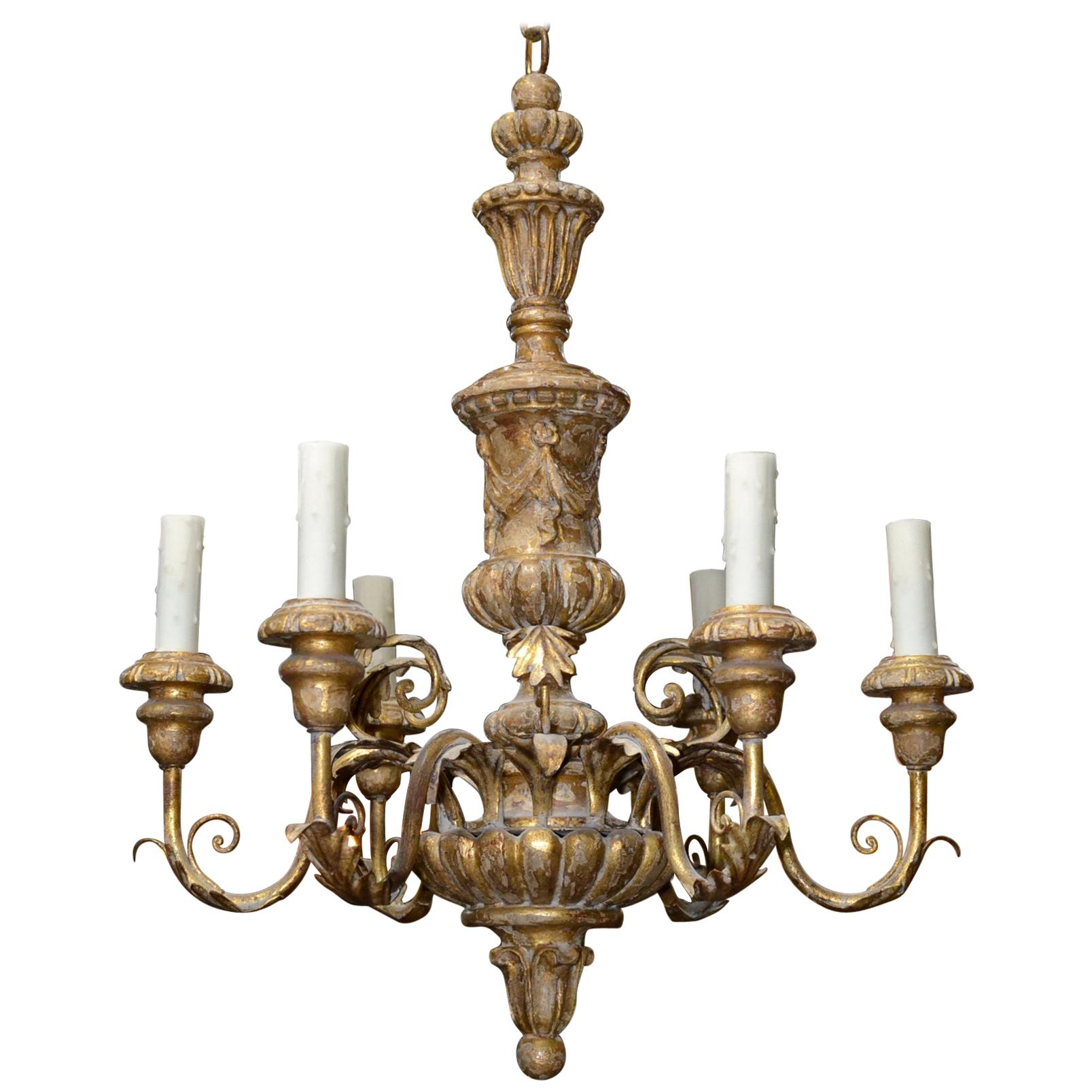 Italian Carved and Giltwood Chandelier