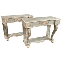 Italian Carved and Painted Neoclassical Consoles