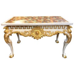 Italian Carved and Parcel-Gilt Console with Specimen Marble Top