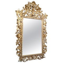 Italian Carved and Water Gilt Mirror of Grand Proportion, circa 1820-1840