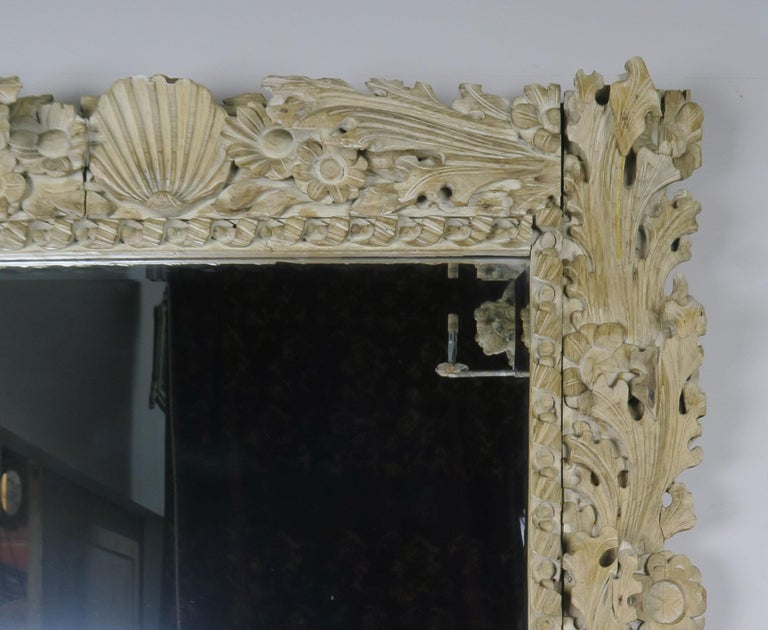 Rococo Italian Carved Bleached Walnut Acanthus Leaf and Shell Mirror For Sale