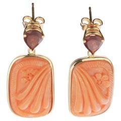 Italian Carved Cammeo Pink Japanese Coral Tourmaline 18 Karat Gold Drop Earrings