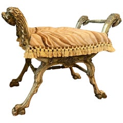 Italian Carved Curule Bench