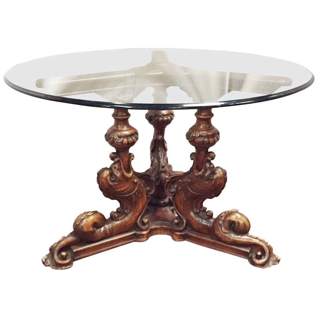 Italian Carved Dolphin Round Table, 19th Century