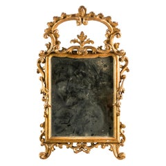 Italian Carved Gilded Wood Mirror, Italy, 18th Century, Rococo Frame Venice