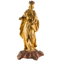 Italian Carved Gilded Wood Sculpture, Italy, 18th Century, Madonna Virgin