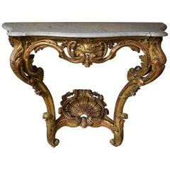 Italian Carved Gilt & Red Painted Wood Wall Mount Marble Top Table Shell Detail