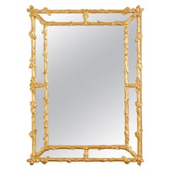 Italian Carved Gilt Wood Faux Bois Cushion Mirror