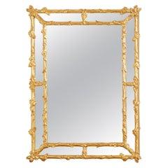 Italian Carved Gilt Wood Faux Bois Cushion Mirror