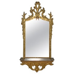 Italian Carved Giltwood Mirror with under Shelf, circa 1950s
