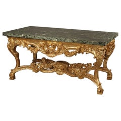 Italian Carved Giltwood Centre Table with a Verde Antico Marble Top, circa 1860