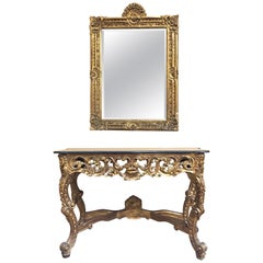 Italian Carved Giltwood Console and Mirror