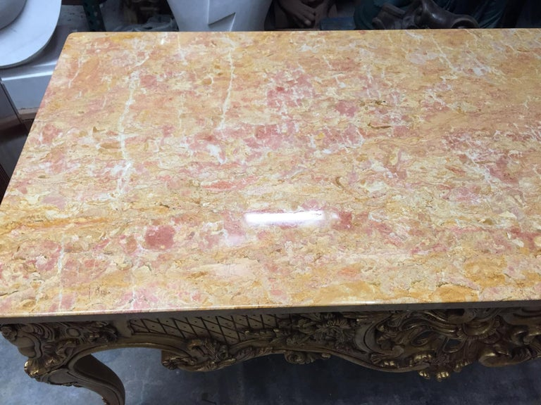 Italian Carved Giltwood Console Table with Marble Top  For Sale 6