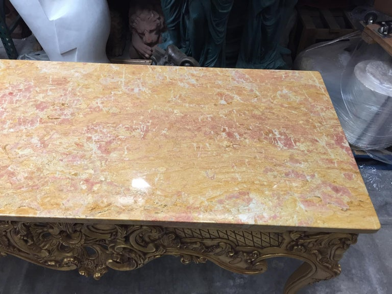 Italian Carved Giltwood Console Table with Marble Top  For Sale 7
