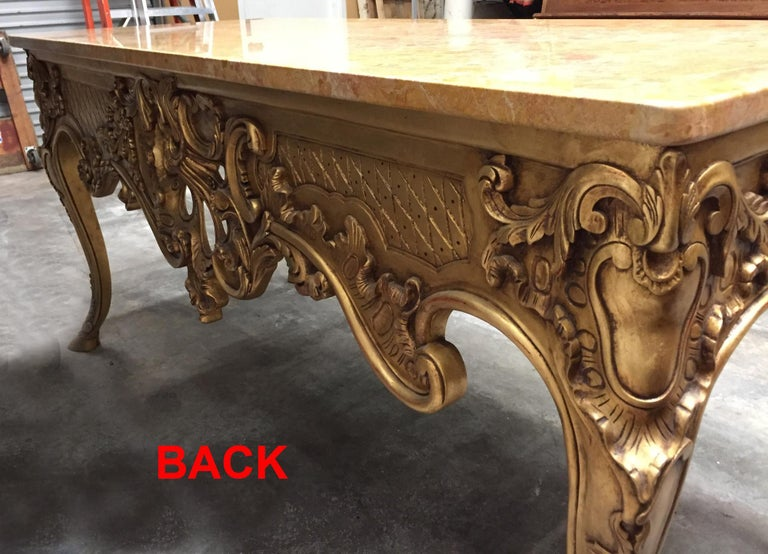 Italian Carved Giltwood Console Table with Marble Top  For Sale 8