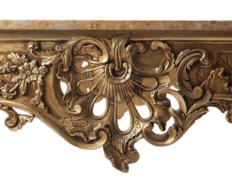 Italian Carved Giltwood Console Table with Marble Top  In Good Condition For Sale In Cypress, CA