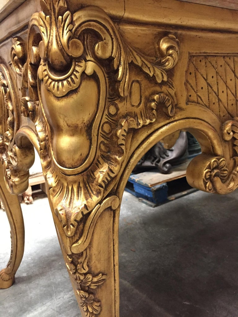 Italian Carved Giltwood Console Table with Marble Top  For Sale 1