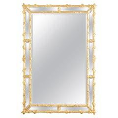 Italian Carved Giltwood Faux Bois Cushion Mirror