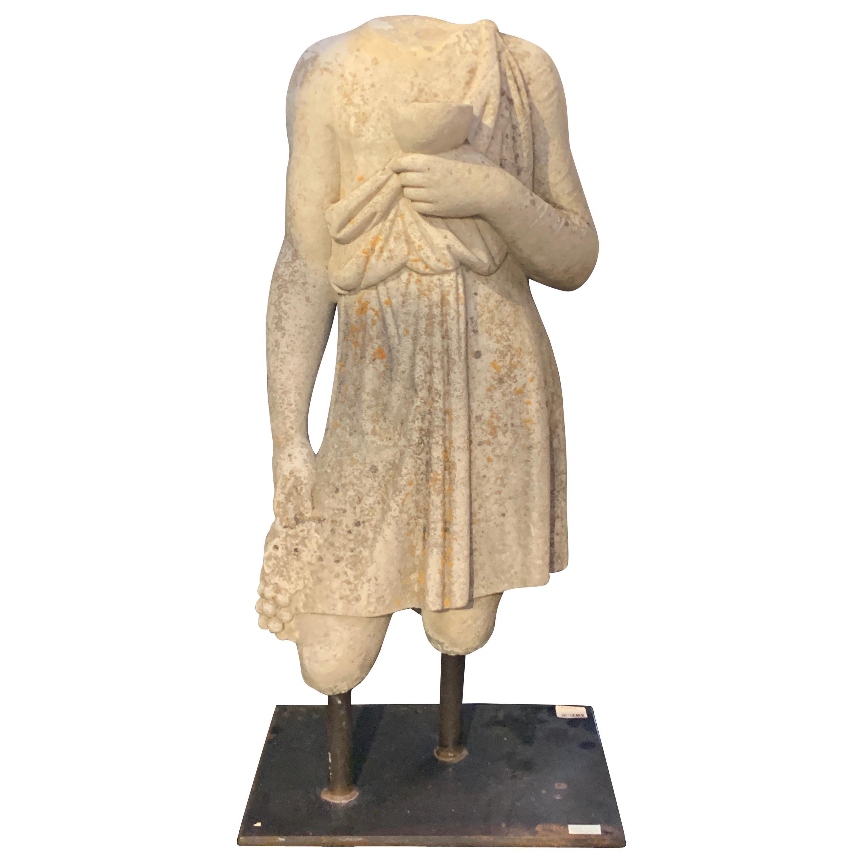 Italian Carved Limestone Garden Figure of Bacchus, Mid 20th Century, Italy