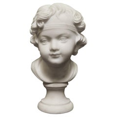 Italian Carved Marble Bust of a Girl, 19th Century