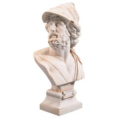 Italian Carved Marble Bust of Ajax