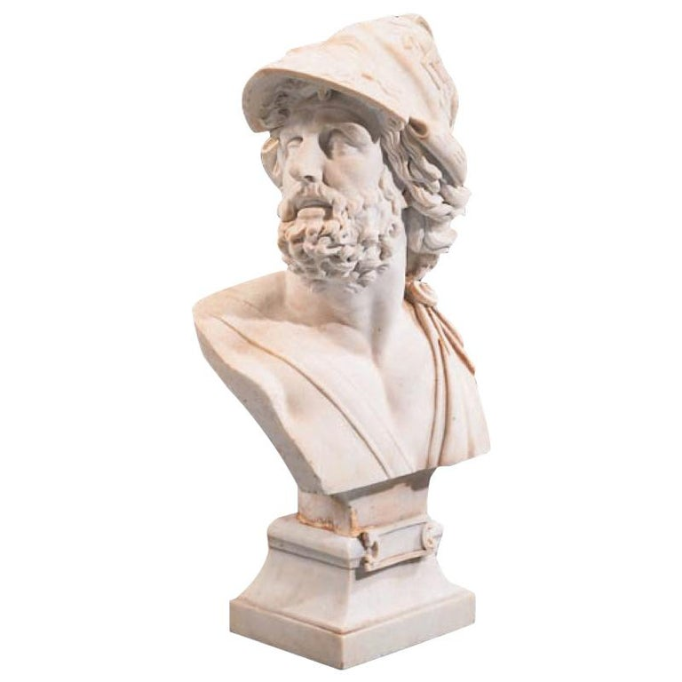 Italian Carved Marble Bust of Ajax For Sale