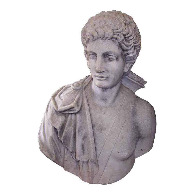 Italian Carved Marble Bust of Eros . Circa 1820