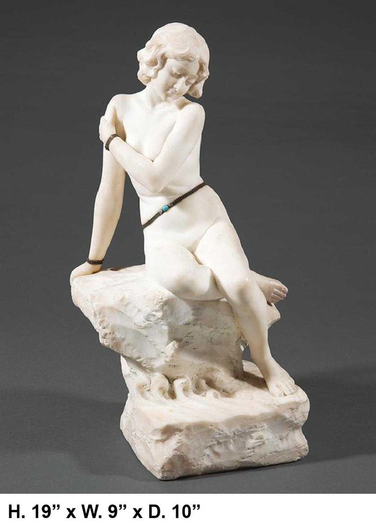 Spectacular 19th century Italian Neoclassical style finely carved white marble sculpture of a jeweled nude woman. 