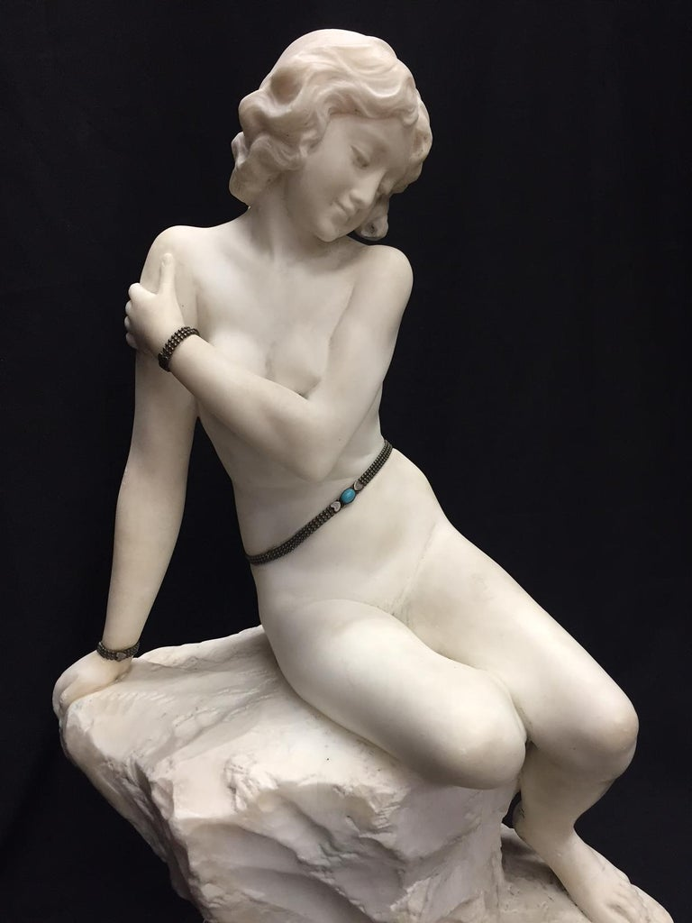 Neoclassical Italian Carved Marble Jeweled Nude Woman, 19th Century For Sale