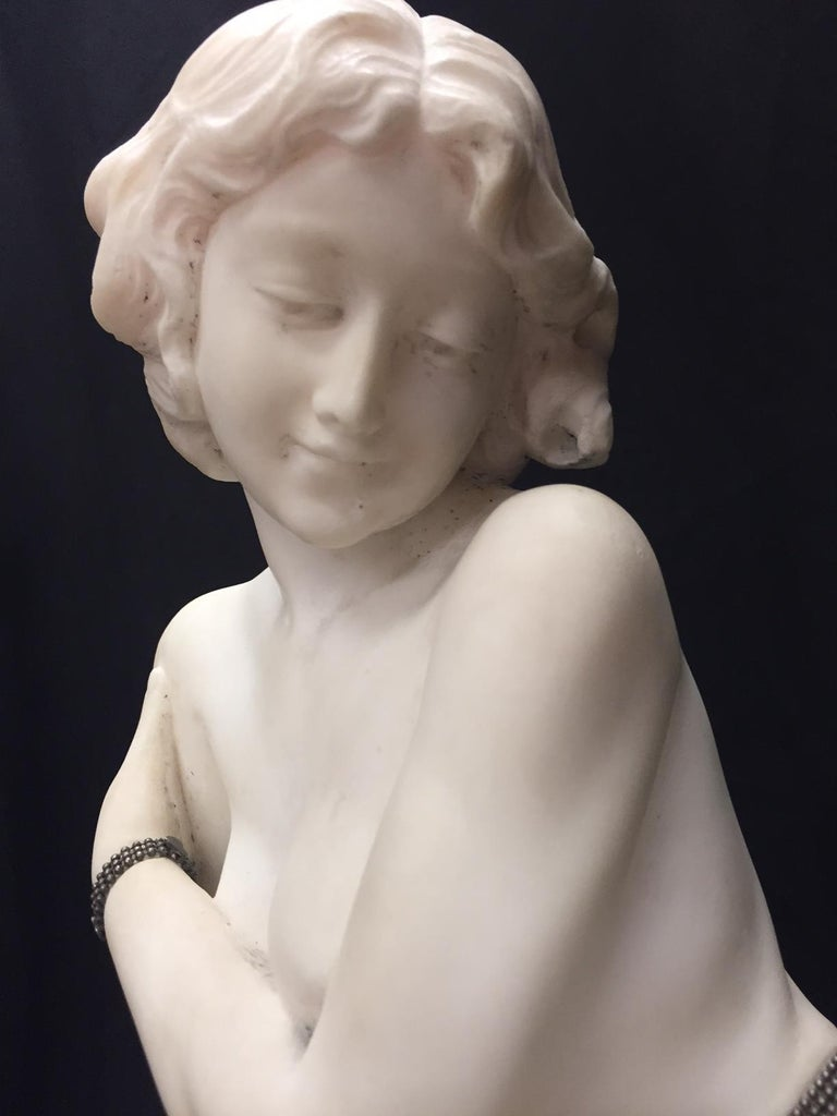 Silver Italian Carved Marble Jeweled Nude Woman, 19th Century For Sale
