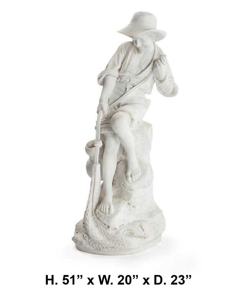 Fabulous and large Italian carved marble statue of a fisher boy.