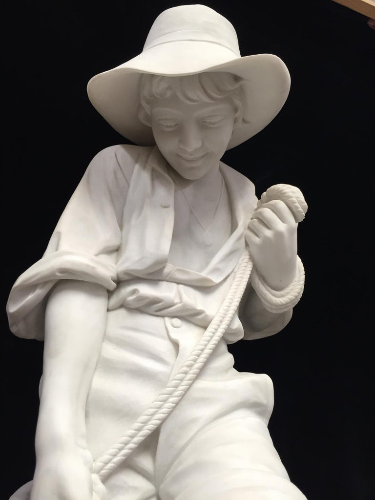 Italian Carved Marble Statue of a Boy, Signed In Good Condition For Sale In Cypress, CA