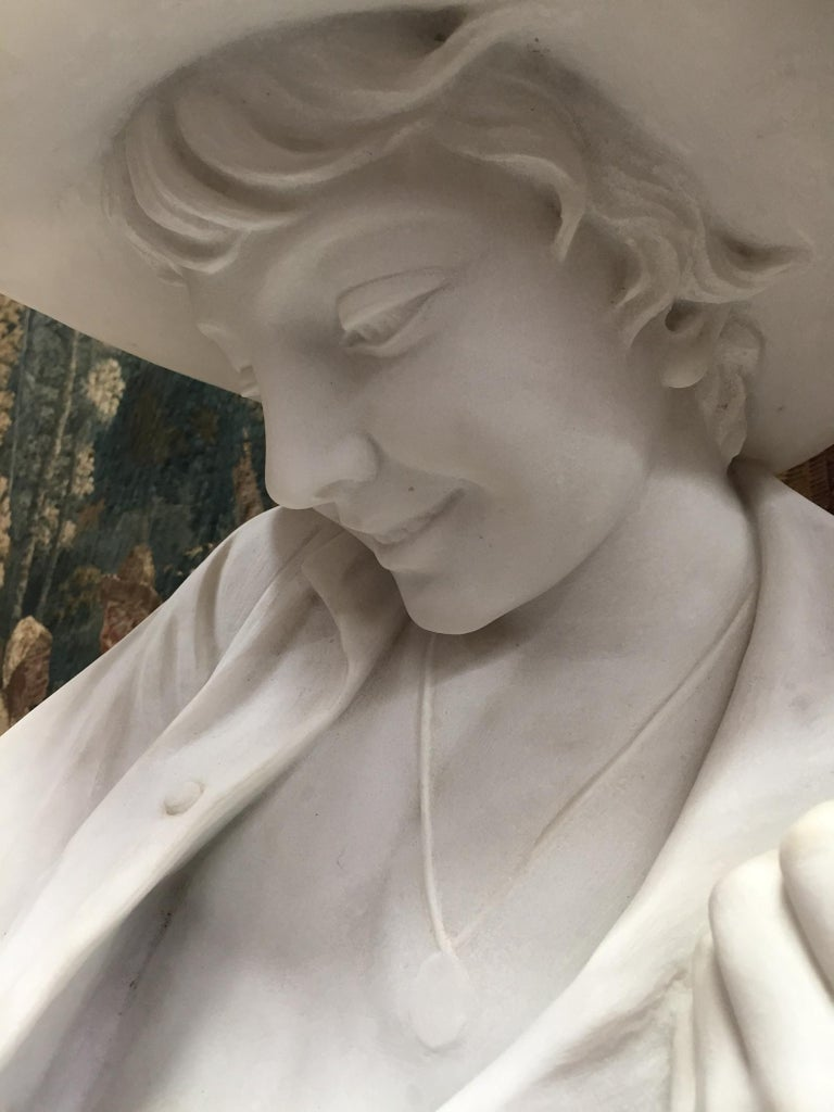 Italian Carved Marble Statue of a Boy, Signed For Sale 4