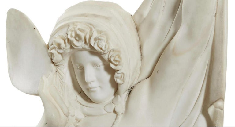 Hand-Carved Italian Carved Marble Statue of a Maiden For Sale