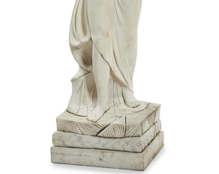Italian Carved Marble Statue of a Maiden In Good Condition For Sale In Cypress, CA