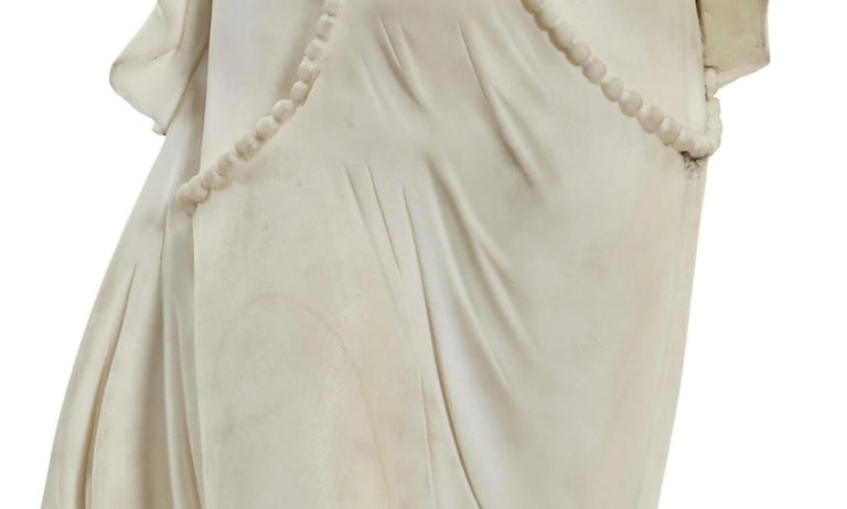 Italian Carved Marble Statue of a Maiden For Sale 4