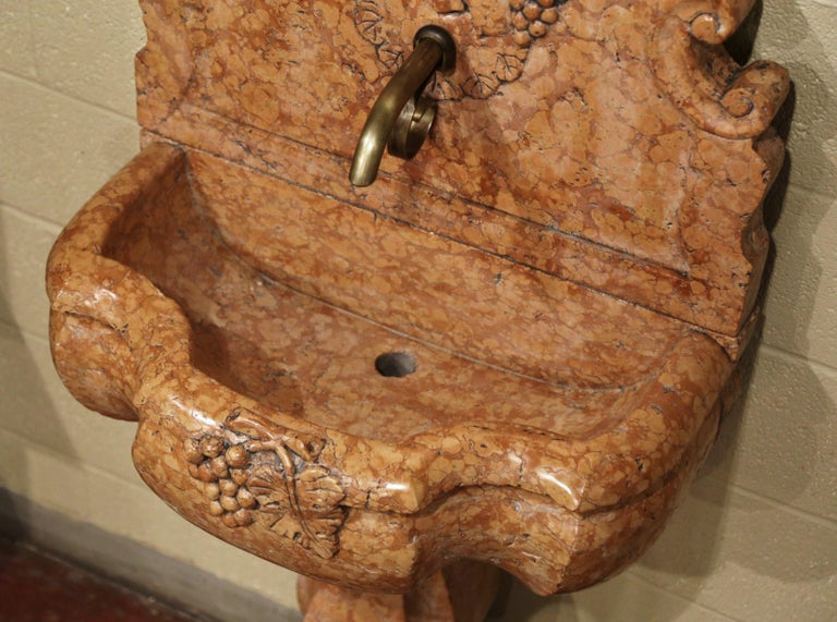 Patinated Italian Carved Marble Three-Piece Wall Fountain with Bacchus and Vine Decor For Sale