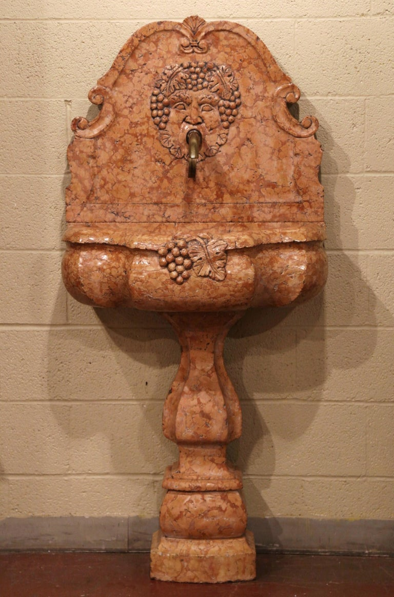Italian Carved Marble Three-Piece Wall Fountain with Bacchus and Vine Decor In Excellent Condition For Sale In Dallas, TX