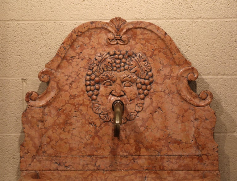 Contemporary Italian Carved Marble Three-Piece Wall Fountain with Bacchus and Vine Decor For Sale