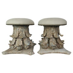 Italian Carved Neoclassical Style Linen Upholstered Benches, a Pair