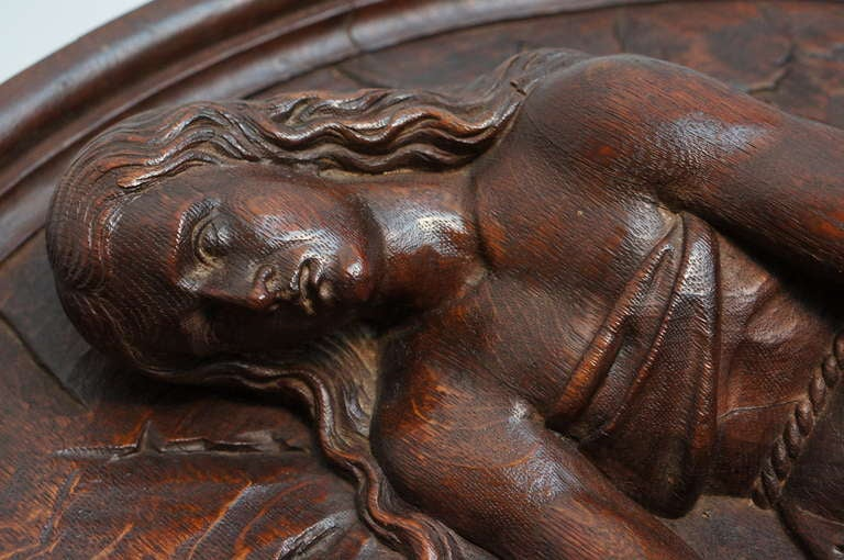 19th Century Italian Carved Oak Tondo Representing Maria Magdalene as a Penitent For Sale
