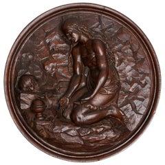 Italian Carved Oak Tondo Representing Maria Magdalene as a Penitent