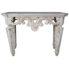 Italian Carved Painted Console with Shell Detail